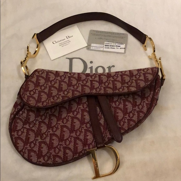 8f7d16a3eee Dior Handbags - Authentic Burgundy Christian Dior Saddle Bag ,
